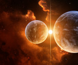 Fototapety Two Planets with Nebula on background