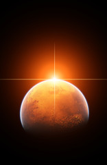 Planet Mars with Rising Sun
