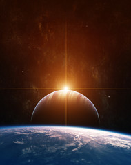 Rising Sun on Giant Gas Planet and Blue Planet