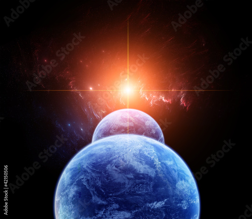 Space Scene with Double Planet and Rising Sun