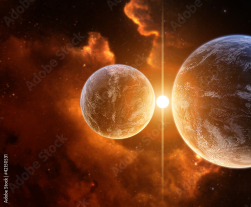 Two Planets with Nebula on background