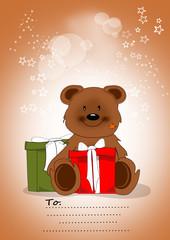 Glückwunschkarte mit Bär und Geschenken