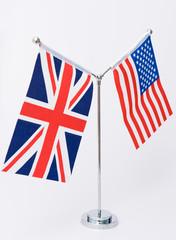 United Kingdom and american table flag