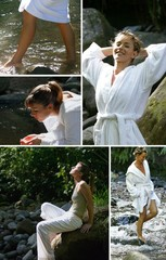Collage of women relaxing at a riverside