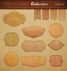 Empty leather Labels Collection.