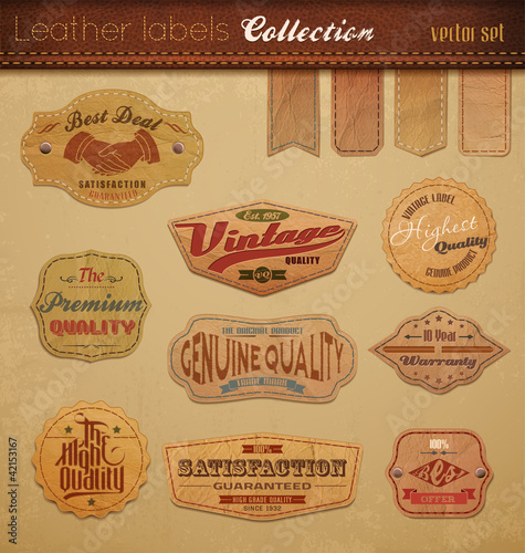 Tuinposter Vintage Poster Leather Labels Collection.
