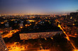 Buildings at night in Moscow, Russia; panorama of city