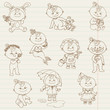 Baby Girl Cute Doodles - for design and scrapbook - in vector
