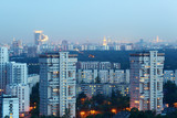 High-rise buildings at evening in Moscow, Russia; panorama