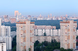 High-rise buildings at overcast day in Moscow, Russia; panorama poster