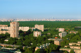 Buildings at sunny morning in small district of Moscow