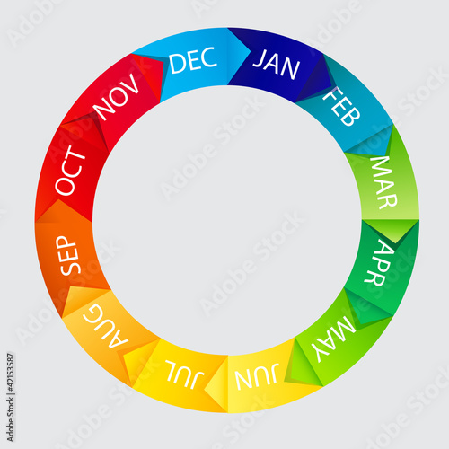 Concept of colorful Time Wheel vector illustration - 42153587
