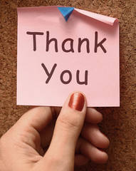 Thank You Note As Thanks Message