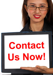 Contact Us Now Computer Message Shows Emailing