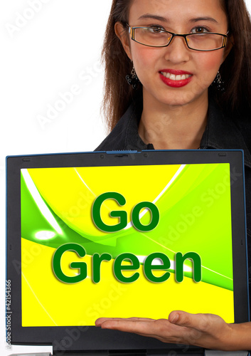 Go Green Computer Message As Symbol For Eco friendly