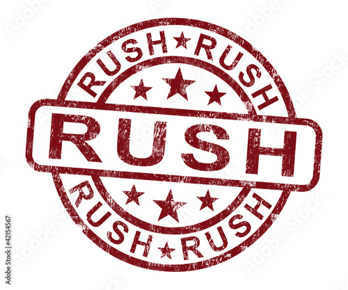 Rush Stamp Shows Speedy Urgent Delivery
