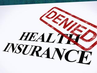 Health Insurance Denied Form Shows Unsuccessful Medical Applicat
