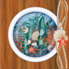 Ship porthole window with underwater scene