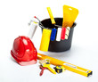 Construction (painting) tools and hardhat