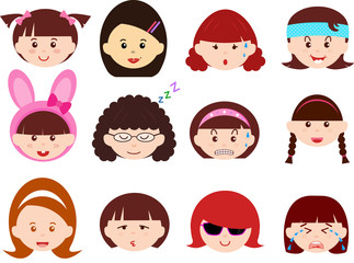 Cute vector Icons: Girls,Women,Kid (Female Set)Different ethnics
