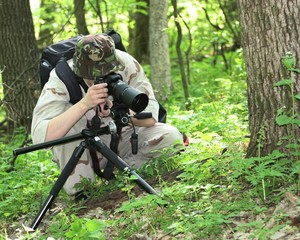 Wildlife photographer in light camouflage