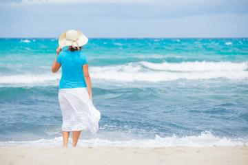Beautiful woman and sea