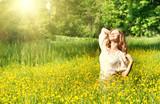 beautiful girl enjoying the summer sun