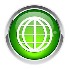 button internet world planet icon.