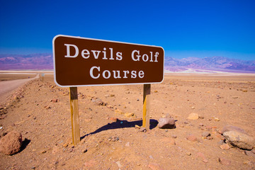 Sign for entrance to Devil's Golf Course, Death Valley