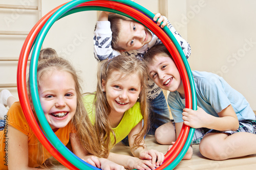 Children with  hula hoops