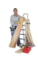 Carpenter with materials and tools