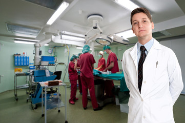 Doctor presenting an operation