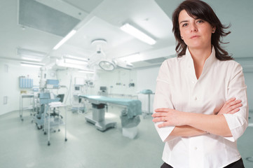 Reassuring woman in operating room