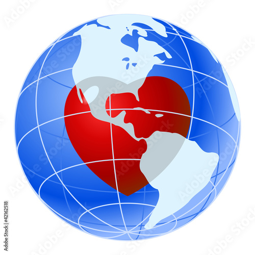 Red heart of blue earth planet
