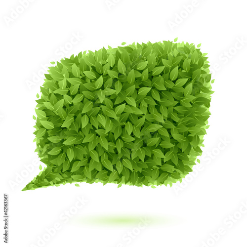 Speech bubble of green leaves