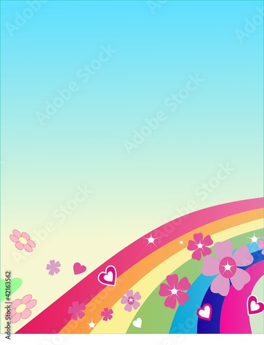 The rainbow with flowers, above it your text