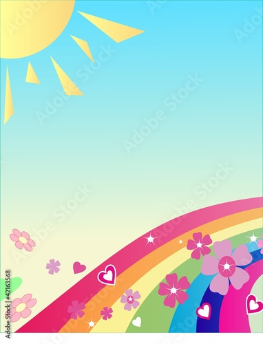 The rainbow with flowers, the sun; above it your text