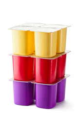 Assorted plastic containers for dairy products with foil lid