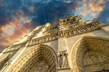 Low-angle view of Notre-Dame Cathedral in Paris