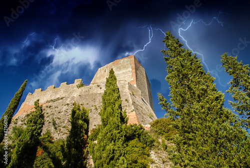 Old Medieval Castle with Vegetation and Sky