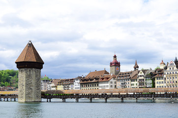 Panoramic view of Chapel Bridge . Lucerne Switzerland