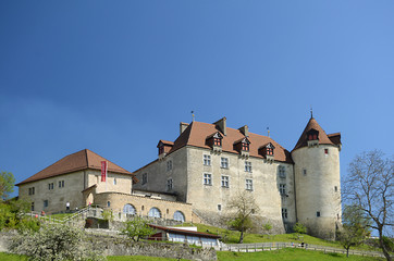 View on Gruyeres castle, Switzerland