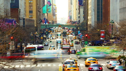 New York City with busy traffic along 42nd street time lapse