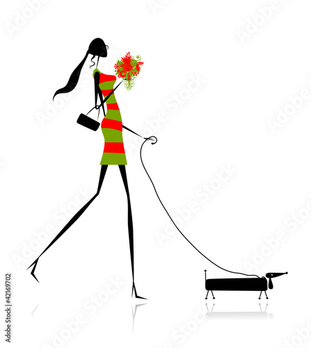 Fashion girl silhouette walking with dog © Kudryashka