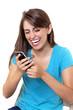 happy girl texting