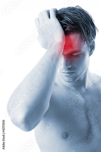 men with headache on white background
