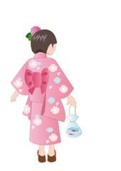 KIMONO ;YUKATA;japanese traditional dress for child 浴衣の少女