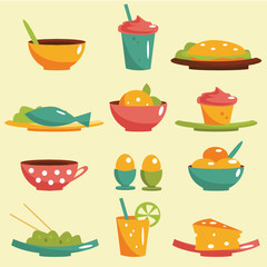 Food icons, vector illustration