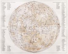Vintage kaart van de maan vanaf het einde van de 19e eeuw