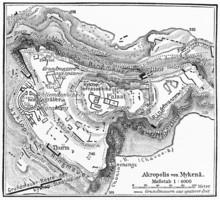 Vintage 19e eeuwse kaart van Mycene, Plan van de Akropolis